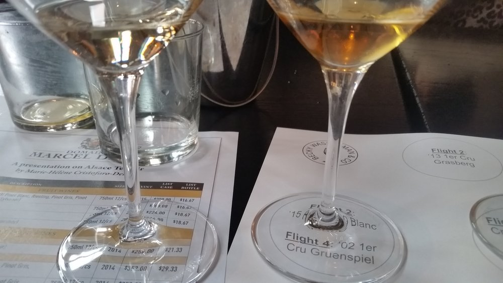 Schoenenbourg 2013 pictured left and '02 1er Cru Gruenspiel pictured right