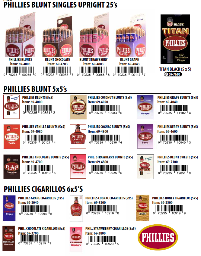 Phillies$7.99/pack(Chcoclate;Grape;Coganc;Strawberry;Sweet;Vanilla)