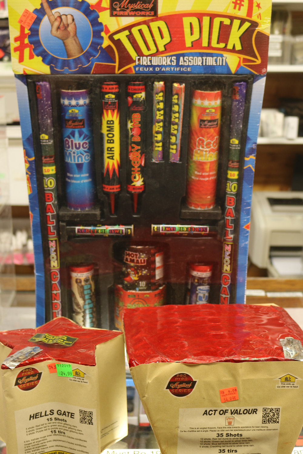 We carry Fireworks every day; we carry Roman Candles, Sparklers; Noise Makers; Multi-shot Cakes & Fanned cakes.
