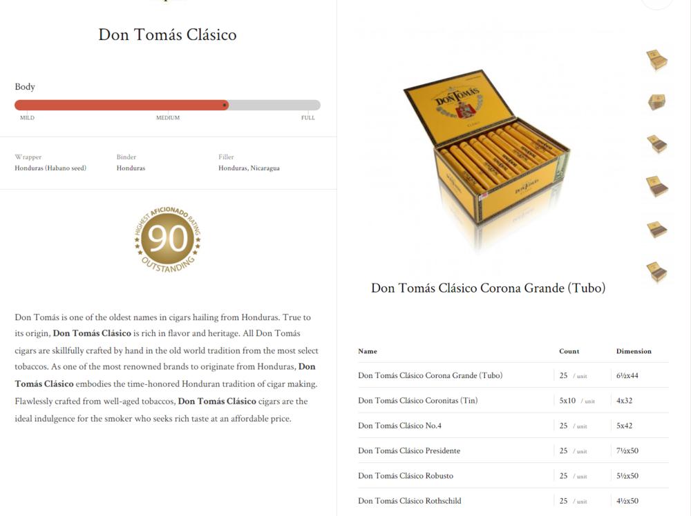 Don Tomás Clásico Corona Grande (Tubo); N0.4; Predidente; Robusto; Rothschild