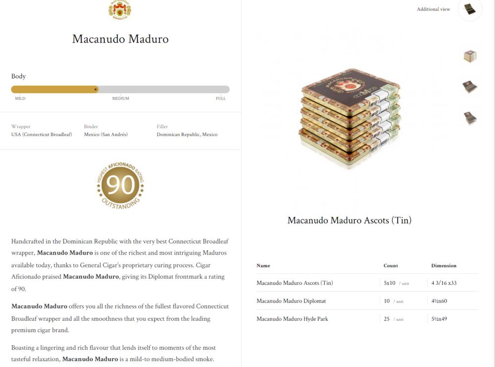 Macanudo Maduro Ascots(tin); Maduro Diplomat; Hyde Park