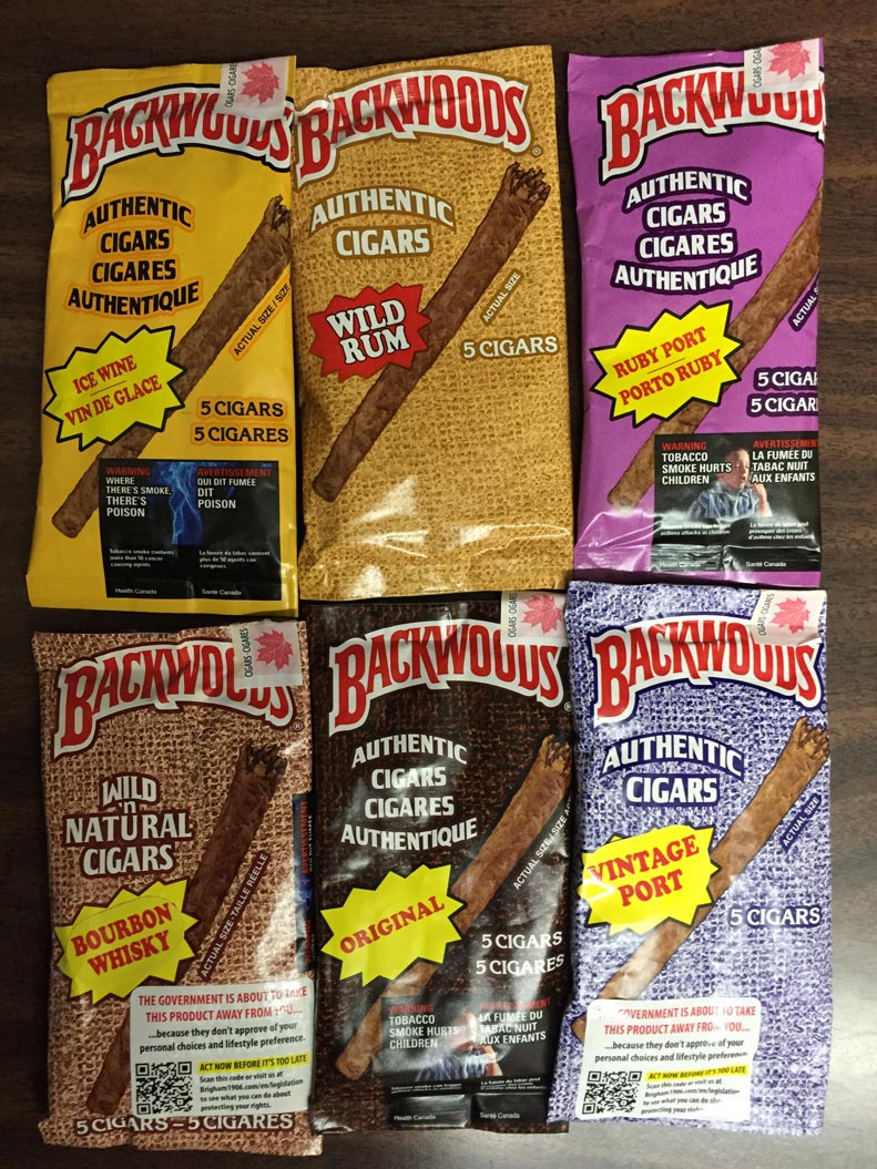 Backwoods $9.73/pack (Bourbon whisky;Ruby port;Original;wild rum; ice wine)