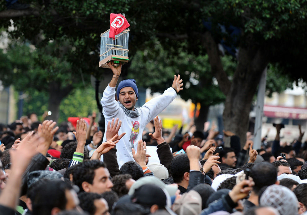 January 2011. Tunisians demand the departure of long-time dictator Zine El Abidine Ben Ali.