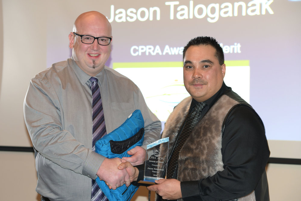 2016 CPRA Award of Merit recipient from Nunavut, Jason Tologanak (r) with CPRA and RPAN Board Member Fred Muise