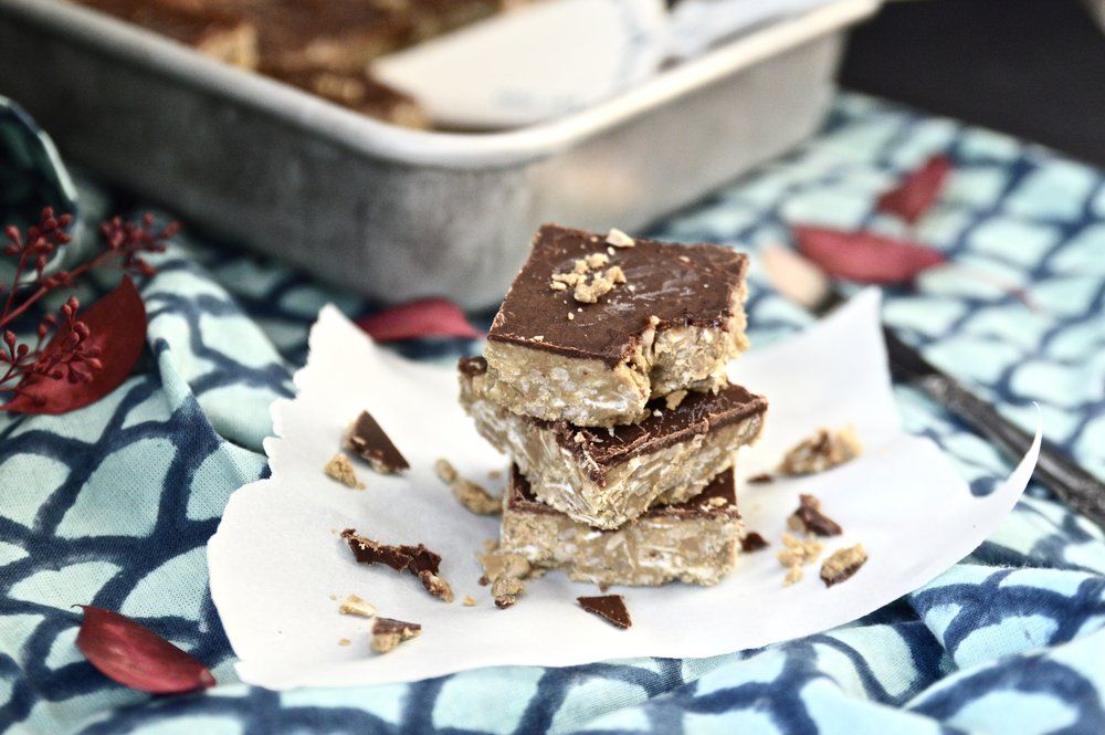 Paleo Nut Butter and Chocolate Crunch Bars - Paleo Nut Butter and Chocolate Crunch Bars. That is what we are munching on this week. This paleo dessert is going to leave you coming back for seconds and maybe even thirds. If you are looking for a sweet and crunchy treat these Paleo Nut Butter and Chocolate Crunch Bars are for you! I promise that if you make these Paleo Nut Butter and Chocolate Crunch Bars you will not be disappointed