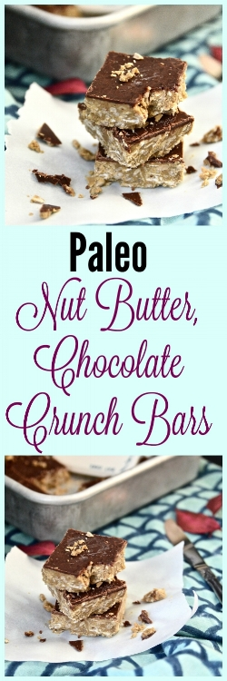 Paleo Nut Butter and Chocolate Crunch Bars. That is what we are munching on this week. This paleo dessert is going to leave you coming back for seconds and maybe even thirds. If you are looking for a sweet and crunchy treat these Paleo Nut Butter and Chocolate Crunch Bars are for you! I promise that if you make these Paleo Nut Butter and Chocolate Crunch Bars you will not be disappointed.