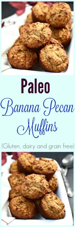 Paleo Banana Pecan Muffins (grain free, gluten free, dairy free)