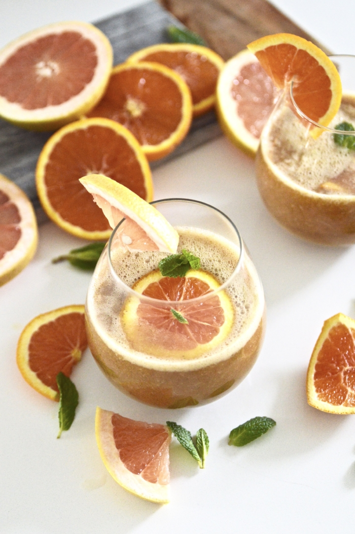 Citrus Mint Kombucha Cocktails (Whole 30, Paleo, Gluten Free, No Sugar Added) s