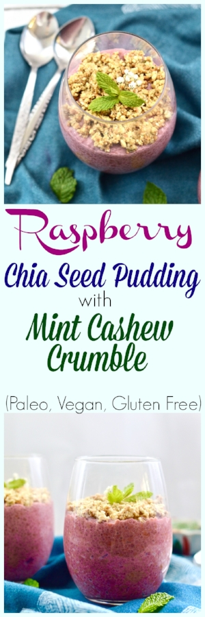 Raspberry Coconut Chia Seed Pudding with Mint Cashew Crumble