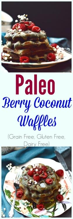 Paleo Berry Coconut Waffles (Grain Free, Gluten Free, Dairy Free) - Paleo Waffles - Grain Free Waffles - Gluten Free Waffles - Dairy Free Waffles