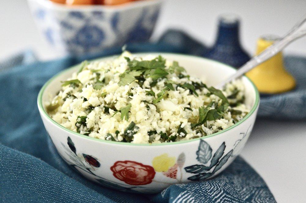 Cilantro Lime Cauliflower Rice (Paleo, Whole 30, GAPS, SCD, Gluten Free, Grain Free)