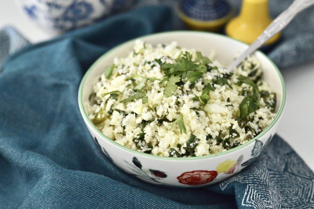 Cilantro Lime Cauliflower Rice (Paleo, Whole 30, Vegan, GAPS, SCD, Gluten Free, Grain Free)