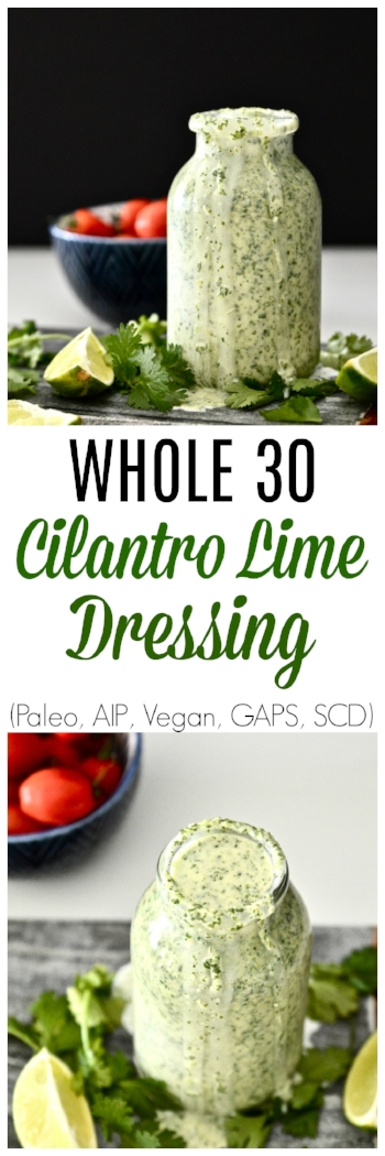 Whole 30 Cilantro Lime Dressing (Paleo, Vegan, AIP. GAPS, SCD, Dairy Free, Gluten Free) - AIP Dressing - Whole 30 Dressing - Cilantro Lime Dressing - SCD Dressing - GAPS Dressing - Lime Dressing
