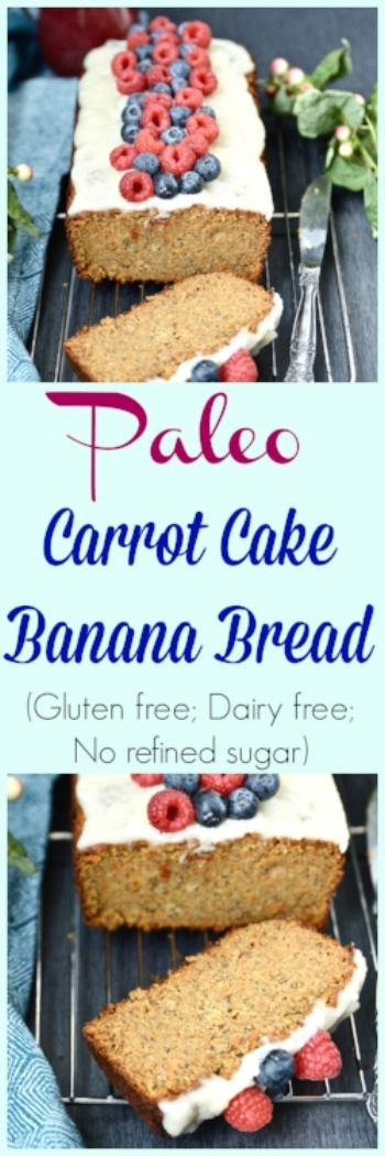 Paleo Carrot Cake Banana Bread (Grain free, dairy free, gluten free, no refined sugar) - Banana Bread - Carrot Cake - Paleo Banana Bread - Paleo Carrot Cake - Gluten Free Banana Bread - Gluten Free Carrot Cake - Grain Free Banana Bread - Grain Free Carrot Cake
