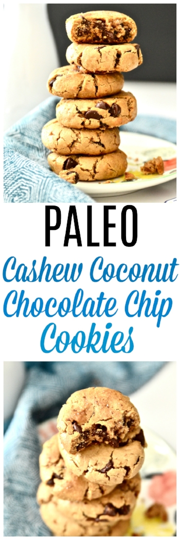 These Paleo Cashew Coconut Chocolate Chip Cookies are my new obsession. If you have been looking for a delicious grain and dairy free chocolate chip cookie look no further. These Paleo Cashew Coconut Chocolate Chip Cookies will have your mouth watering in no time. You can eat these Paleo Cashew Coconut Chocolate Chip Cookies as a dessert, snack, or maybe even for breakfast (I won't tell I promise).  #paleo #chocolate #cookie #glutenfree