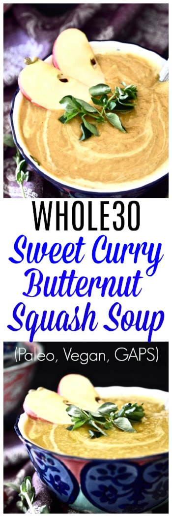 This Whole30 Curry Squash Soup is so simple to make and bursting with flavour. This paleo squash soup recipe is the perfect fall side dish that will have you coming back for seconds and thirds. This Whole30 squash soup is going to become a go-to easy paleo soup recipe for those busy week nights when you don't want to be slaving away in the kitchen.