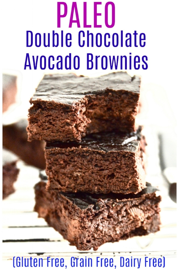 Paleo Double Chocolate Avocado Brownies. Yes you read that right. These Paleo Double Chocolate Avocado Brownies are made without any flours at all yet still taste amazing. These Paleo Double Chocolate Avocado Brownies are also really simple to make because they are made in your food processor or blender. Simple and Delicious? Yes it's possible. These Paleo Double Chocolate Avocado Brownies will have you coming back for seconds and maybe even thirds. #paleo #brownies #chocolate #glutenfree #grainfree #dairyfree