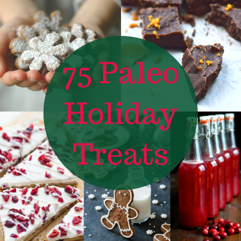 75 Paleo Holiday Treats. Yes 75! Because let's face it, you are going to be indulging in treats during the holidays. We all are. But that doesn't mean you need to let your paleo diet slip during this busy time of year. To help you continue your paleo diet during the holidays I have collected the best 75 Paleo Holiday Treats that I could find. I bet if you served any of these recipes to your non-paleo eating friends they wouldn't even be able to tell that it was paleo. They are all that good! #paleo #glutenfree #treats