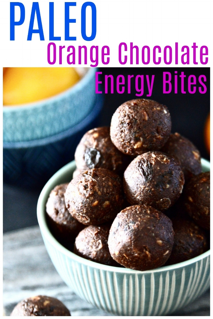 Paleo Orange Chocolate Energy Balls. Because orange and chocolate just belong together. If you are looking for a quick and healthy snack these Paleo Orange Chocolate Energy Balls are the perfect option. These Paleo Orange Chocolate Energy balls not only taste amazing but they are also really, really easy to make! #paleo #vegan #chocolate