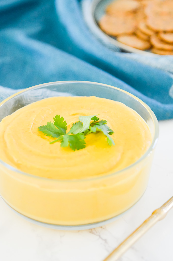Do you miss dairy on the paleo diet? Good news! I made this Paleo Cheese Sauce just for you. This Paleo Cheese Sauce is totally dairy free and is loaded with vegetables so it is a healthy alternative to traditional dairy products. This Paleo Cheese Sauce makes the perfect dip for nachos, and raw vegetables and makes a great topping for burgers and other meat dishes. #paleo #vegan #cheese
