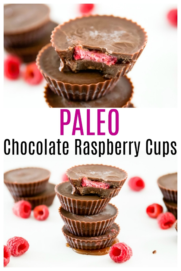 Paleo Chocolate Raspberry Cups. That's whats on the dessert menu this week. These Paleo Chocolate Raspberry Cups are not only delicious, but they are also so simple to make. Plus, these Paleo Chocolate Raspberry Cups are refined sugar free, dairy free and vegan friendly. I promise your whole family will love them. #paleo #vegan #chocolate