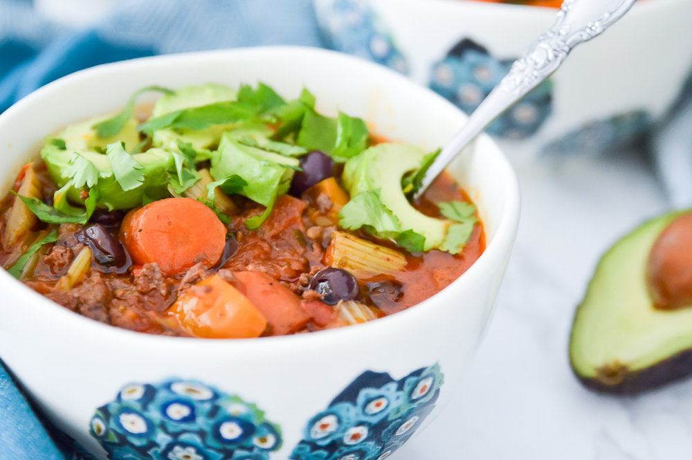 Whole30 Slow Cooker Chili with Blueberries