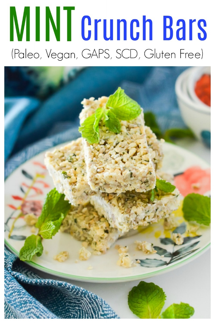 Are you looking for the perfect snack? If so, these Paleo Mint Crunch Bars are for you. These Paleo Mint Crunch Bars have the perfect combination of crunchiness and sweetness to satisfy all of your snack or dessert cravings. These Paleo Mint Crunch Bars are also vegan, GAPS and SCD safe. #vegan #paleo #glutenfree