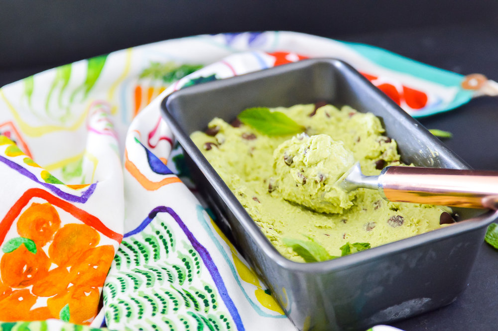 Avocado Mint Chocolate Chip Ice Cream is going to become your new favourite summer treat. The refreshing combination of mint and chocolate were made for each other! This Avocado Mint Chocolate Chip Ice Cream is also loaded with healthy fats from avocados and coconut milk. I promise even your kids will love this Avocado Mint Chocolate Chip Ice Cream! #paleo #vegan #gaps #icecream