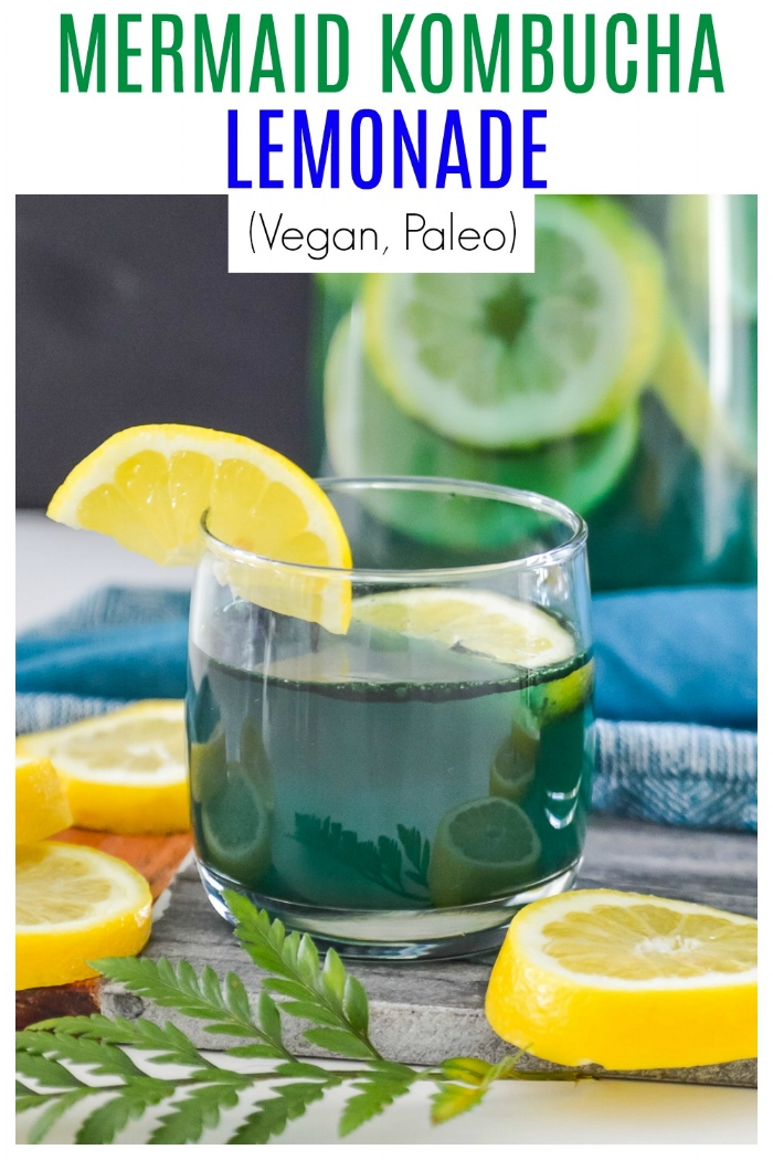 Mermaid Kombucha Lemonade is going to become your new favourite summer drink. Your kids will love the fun green color of this Mermaid Kombucha Lemonade and you will love that they will be filling their bellies with healthy, nourishing ingredients every time they take a sip of this Mermaid Kombucha Lemonade.  #paleo #vegan #lemonade