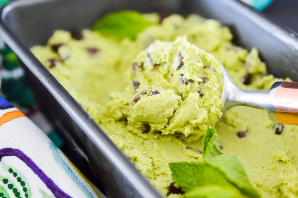 Paleo Avocado Mint Chocolate Chip Ice Cream