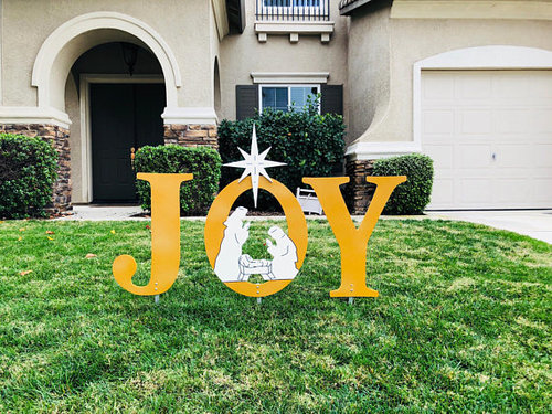 joy gold glitter nativity outdoor christmas holiday yard art sign christmas decoration - Joy Outdoor Christmas Decoration