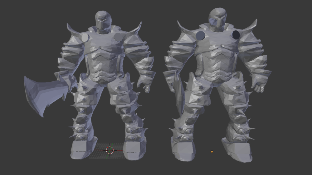 Final result on the left, original mesh on the right.