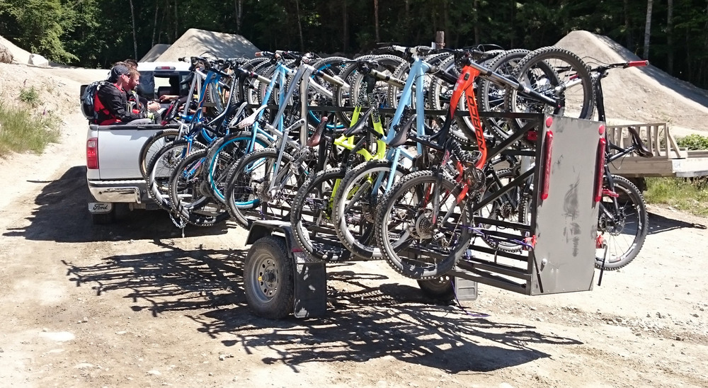 Large Huckwagons Mountain Bike Shuttle Trailers with a truck