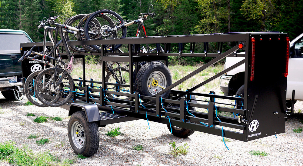Large Huckwagons Mountain Bike Shuttle Trailers with a SUV