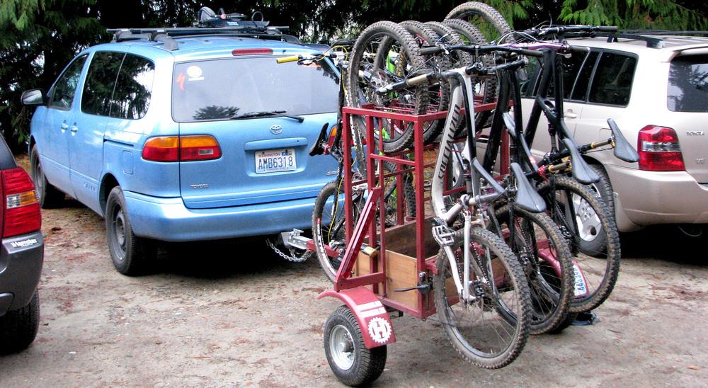 Small Huckwagons Mountain Bike Shuttle Trailers with minivan