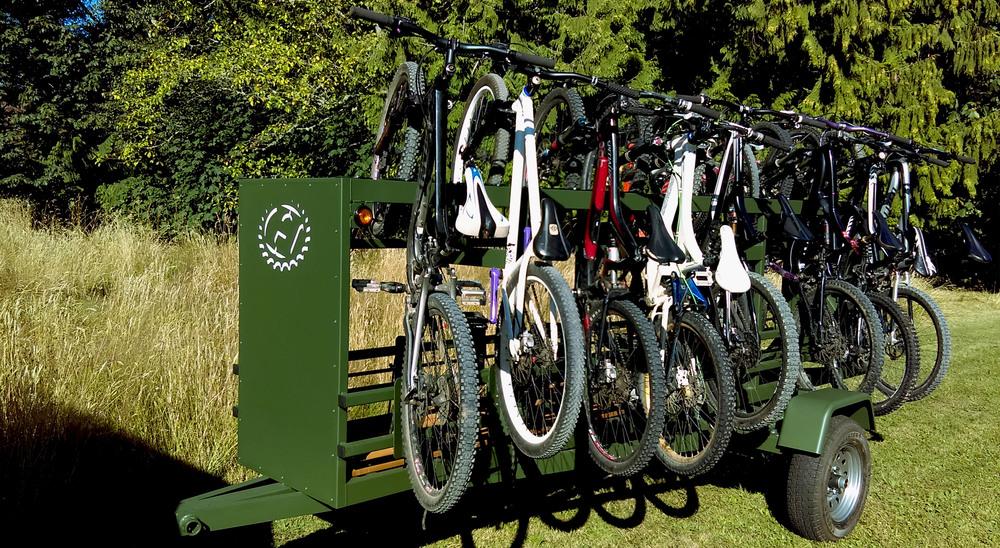 Medium Huckwagons Mountain Bike Shuttle Trailers customizable to your bike transport needs
