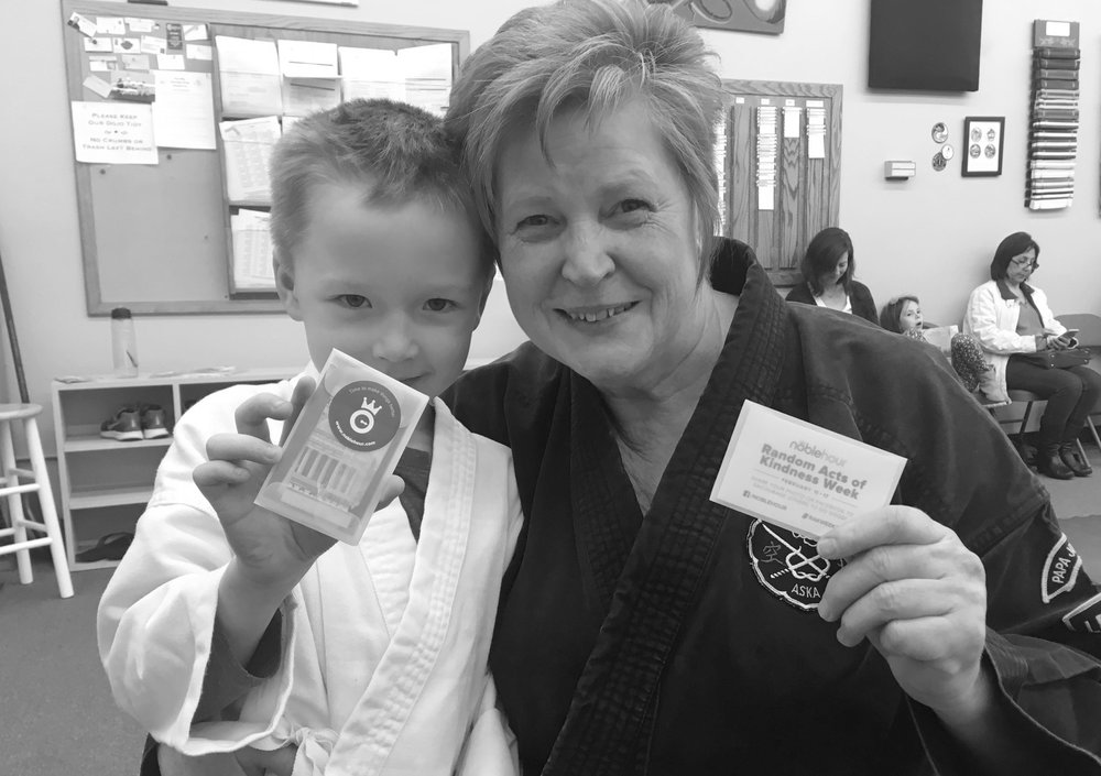 This little Kung Fu Master saw his sensei going above for her students. He thanked her for her kindness and gave her a NobleHourHigh5.