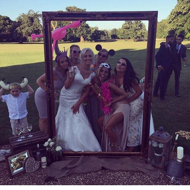 A really original photo booth from last Saturday's wedding. Amy and her wedding guests enjoying the sunshine #bride #love #photobooth #photo #wedding #weddingceremony #photoframe #frame #offleyplace #offley #outdoors #ceremony #reception #photobooth #weddingphotos #photography