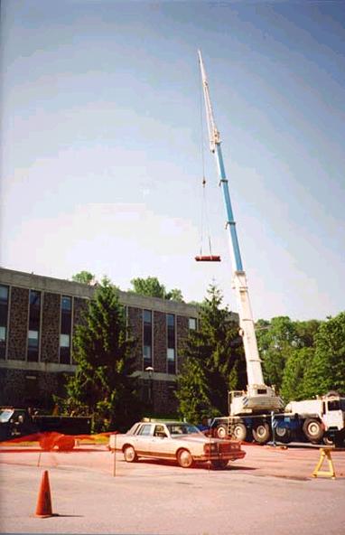 285 foot crane lifting I-beams