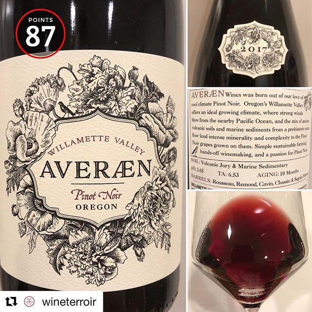 Dig this review!  #Repost @wineterroir ・・・ 2017 Averæn - Pinot Noir Willamette Valley (87 pts) @averaenwines @valkyrieselections · · 🙋‍♂️ What is your favorite