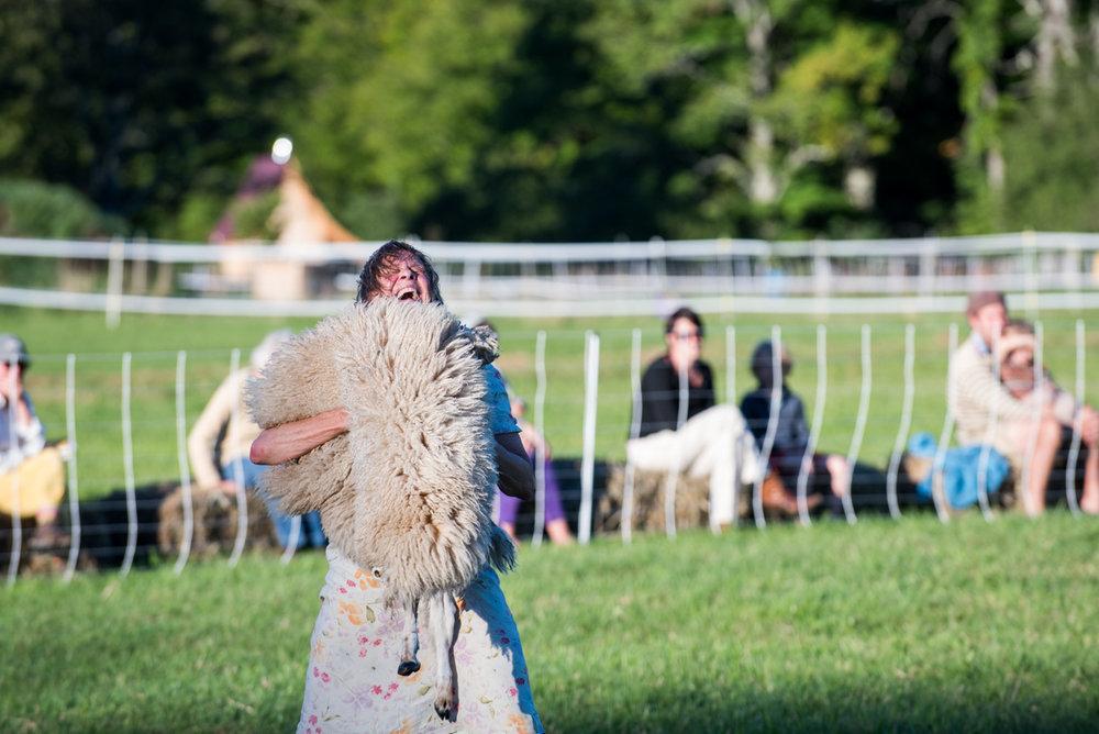 Diane laughing:play in a play, hugging pelt.jpg