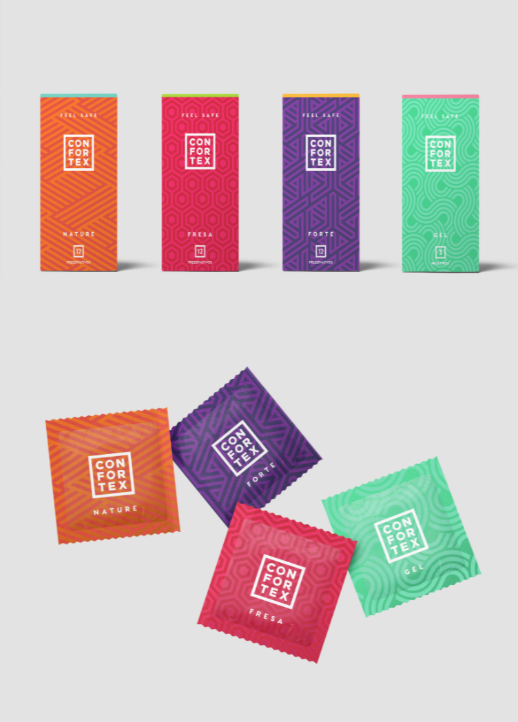 Condom packaging wrappers by The Woork Co for Confortex