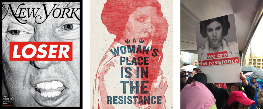From left to right: Barbara Kruger's resolute and strident art, Princess Leia—General Leia Organa, rather—and the Star Wars Rebel Alliance and mashup of the two