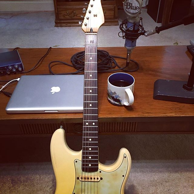 Saturday mornings are made of this. #music #guitar #fender #stratocaster #coffee