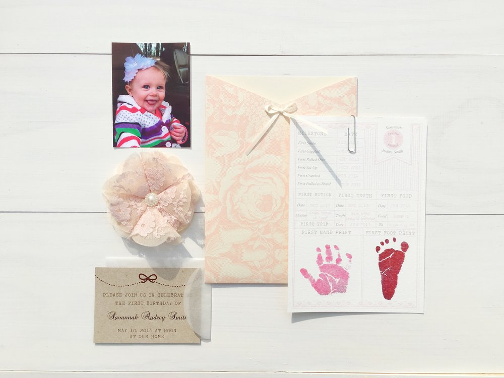 jsd first birthday invitation pink kraft contents.jpg