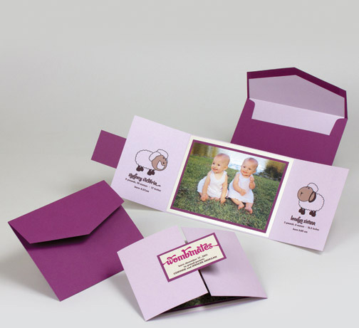 purple violet lamb theme twin birth annoucement.jpg