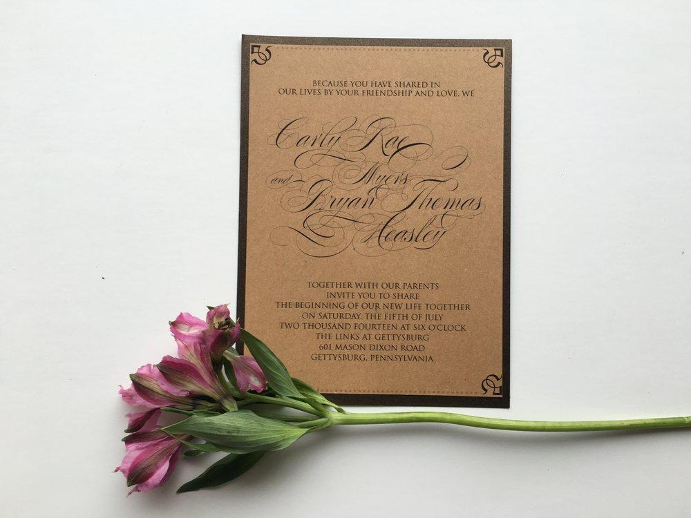 jsd- brown bronze script wedding invitation.jpg