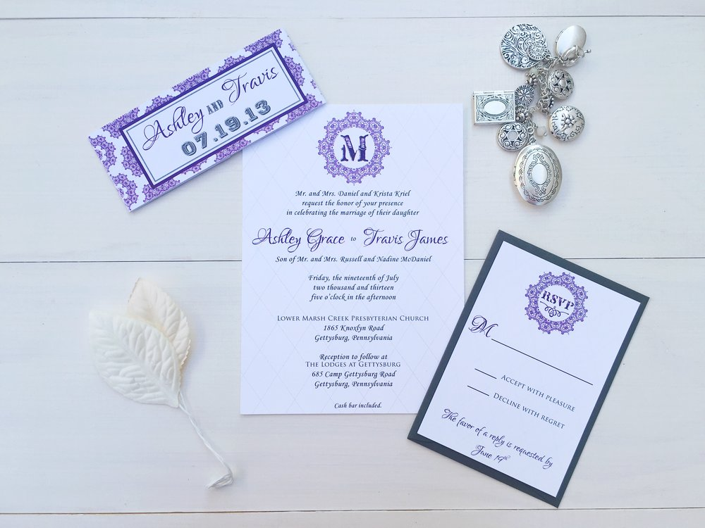 jsd- violet white gray traditional wedding invitation.jpg