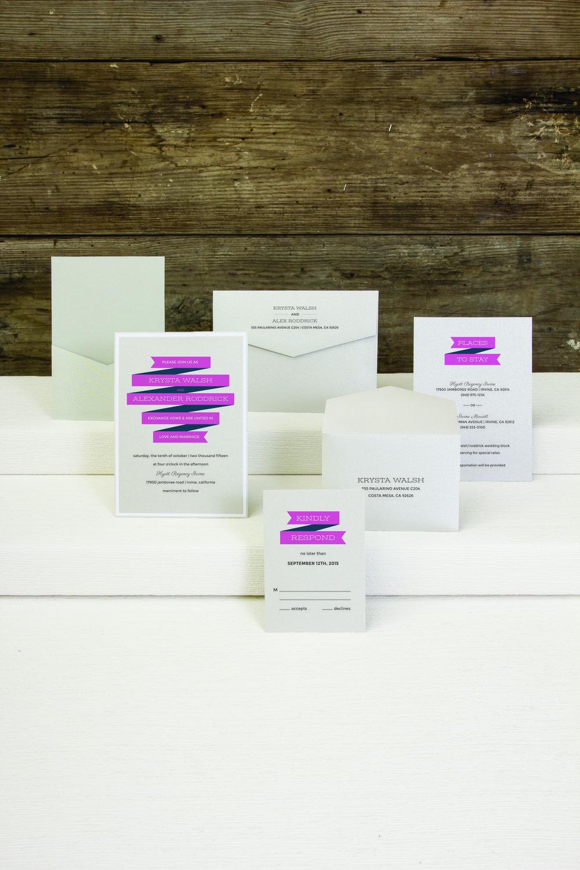 jsd-e pink white ribbon modern wedding invitation.jpg