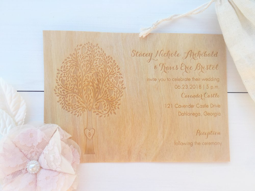 Central PA, York PA, JesSmith Designs, custom, wedding, invitations, bridal, announcements, save the date, baby, hanover, calligraphy, baltimore, wedding invitations, lancaster, gettysburg carlson craft engraved wood veneer rustic wedding invitation.jpg